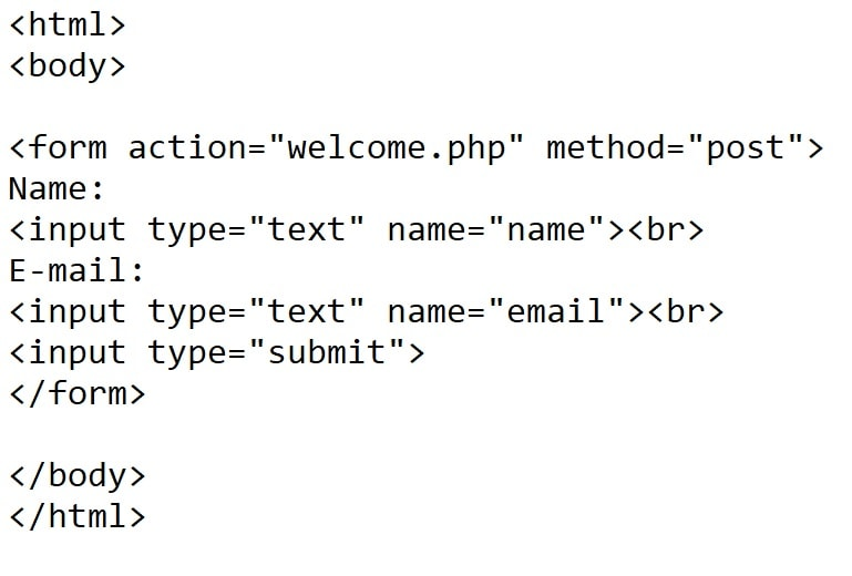 η σελίδα html στο παράδειγμα php