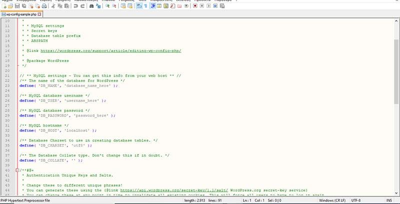 Τοποθέτηση των κωδικών στο αρχείο wp-config-sample
