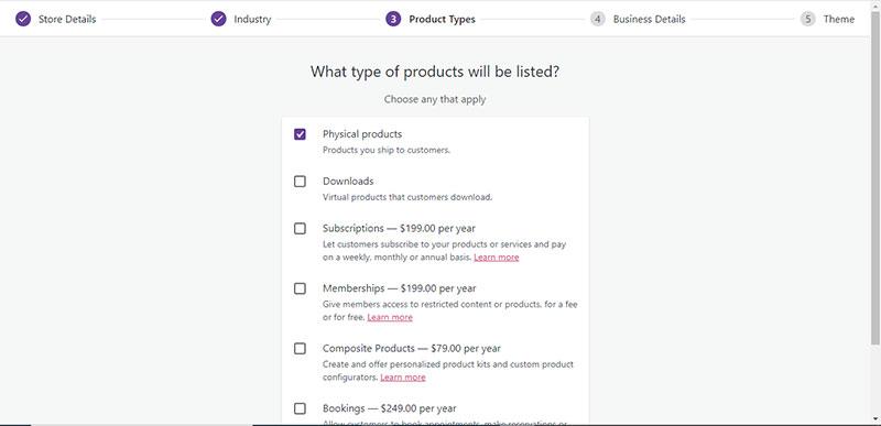 επιλέγουμε το είδος των προϊόντων του e-shop