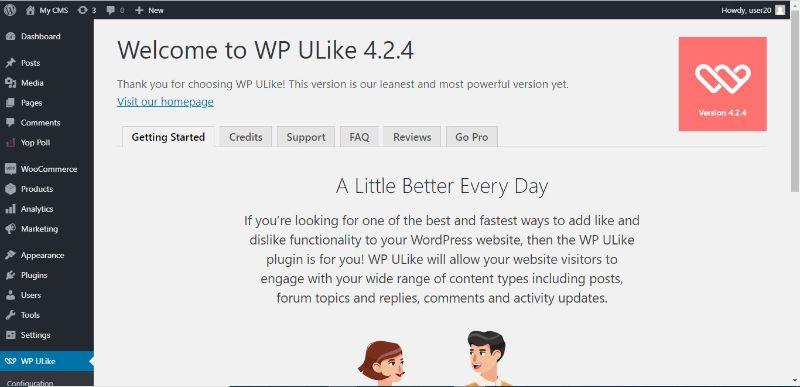 αρχική σελίδα του WP Ulike