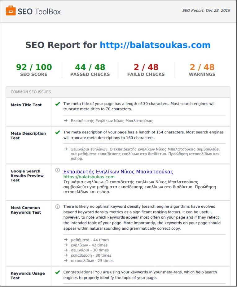 έλεγχος ιστοσελίδας balatsoukas.com